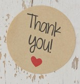 Ronde sticker thank you, kraft, 10st