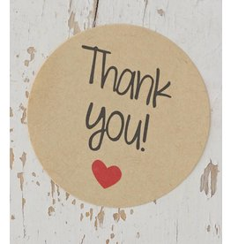 Ronde sticker thank you, kraft, 10st