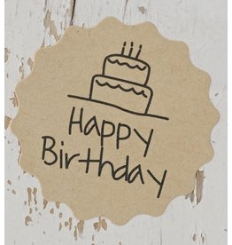 Ronde kraft sticker happy birthday, 12st