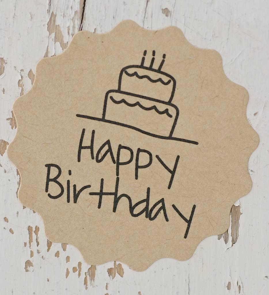 Ronde kraft sticker happy birthday, 12st