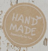 Ronde kraft sticker hand made wit, 12st