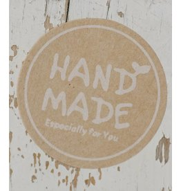Ronde kraft sticker hand made wit, 12st