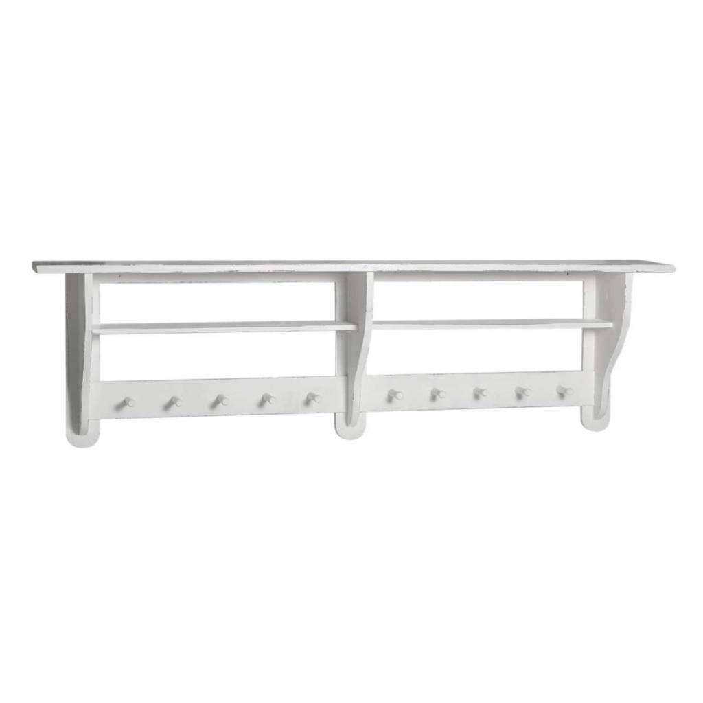 IB Laursen Console/kapstok 10 haken met 2 plank 138x40x20cm, wit