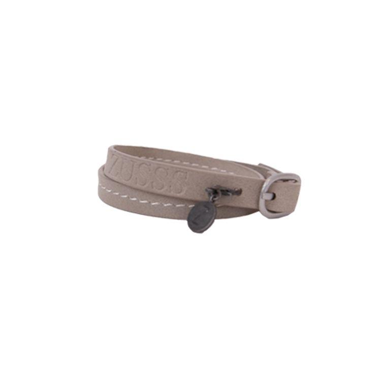Zusss Armband Gesp leer 1x43cm, poedergrijs