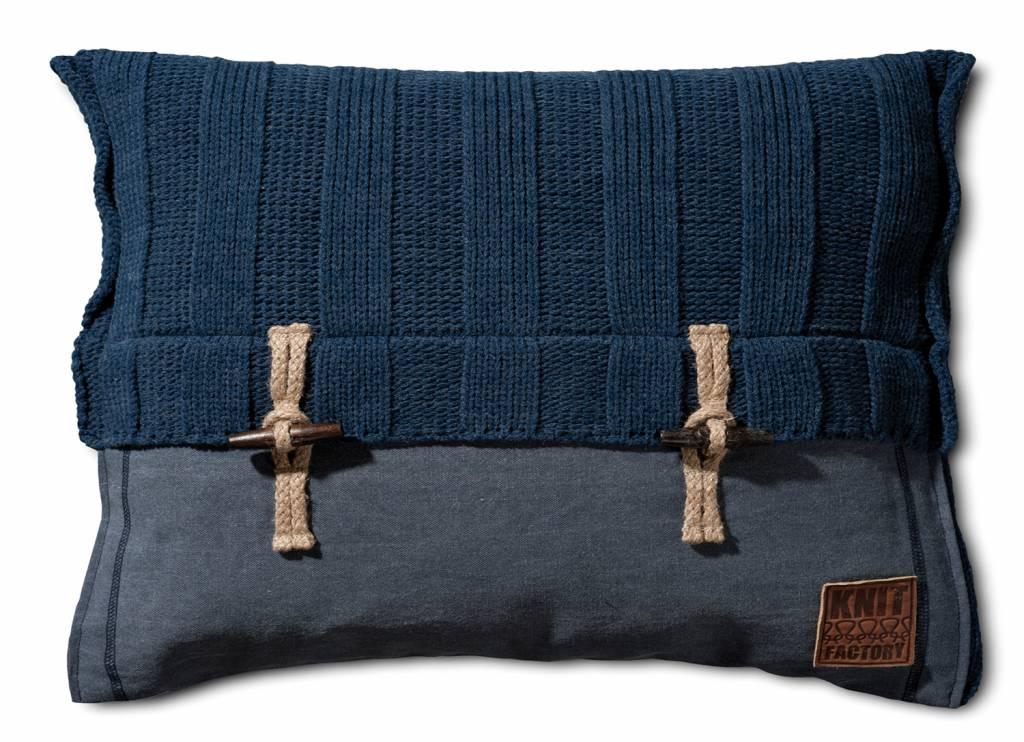 Knit Factory Gebreid kussen Rib6x6 Jeans 40x60cm