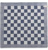 Knit Factory Gebreide keukendoek 'grote blok' ercu/jeans 50x50cm