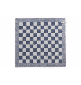Knit Factory Gebreide keukendoek 'grote blok' ecru/jeans