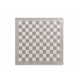 Knit Factory Gebreide keukendoek 'grote blok' ecru/taupe