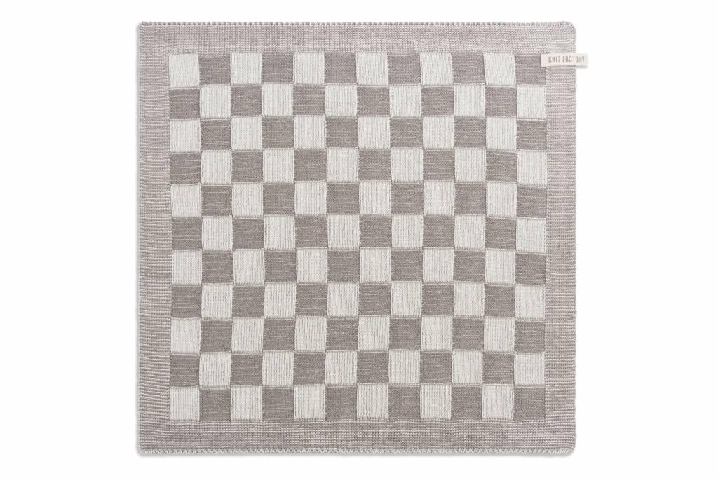 Knit Factory Gebreide keukendoek 'grote blok' ercu/taupe 50x50cm