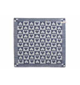 Knit Factory Gebreide keukendoek 'klein hartje' ecru/jeans