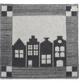 Knit Factory Gebreide keukendoek 'huis' ercu/antraciet 50x50cm