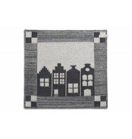 Knit Factory Gebreide keukendoek 'huis' ecru/antra