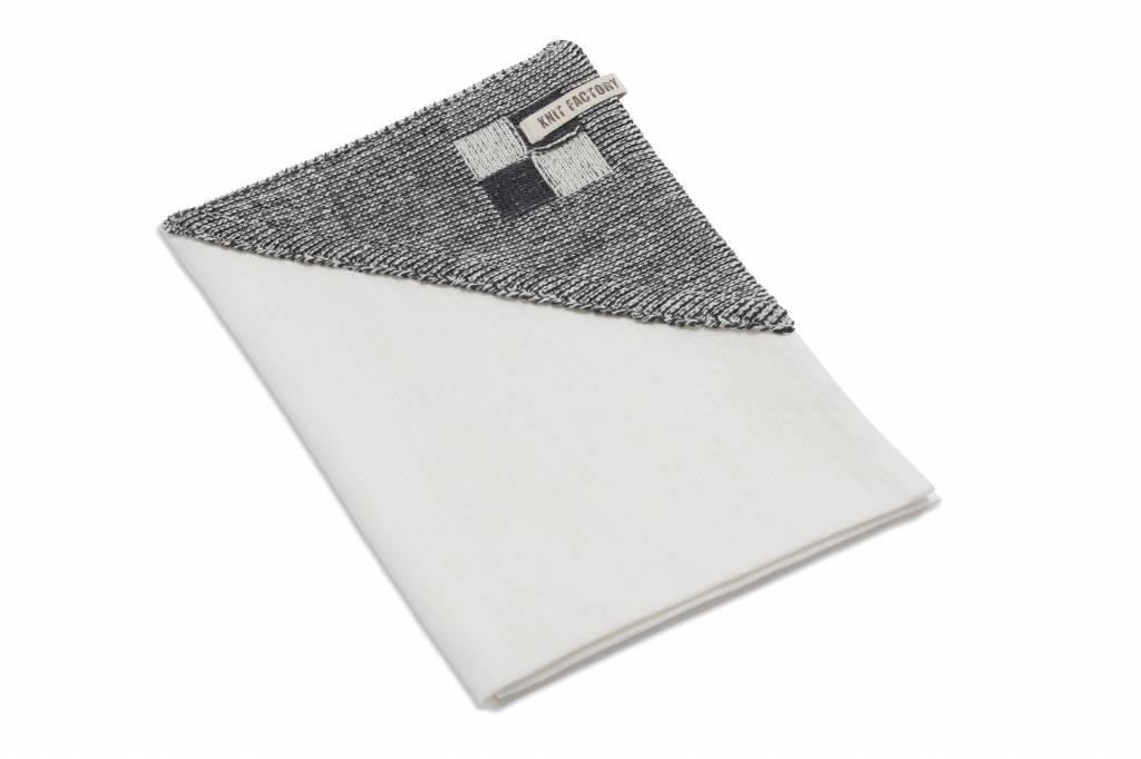 Knit Factory linnen theedoek 'grote blok' ercu/antraciet 65x65cm