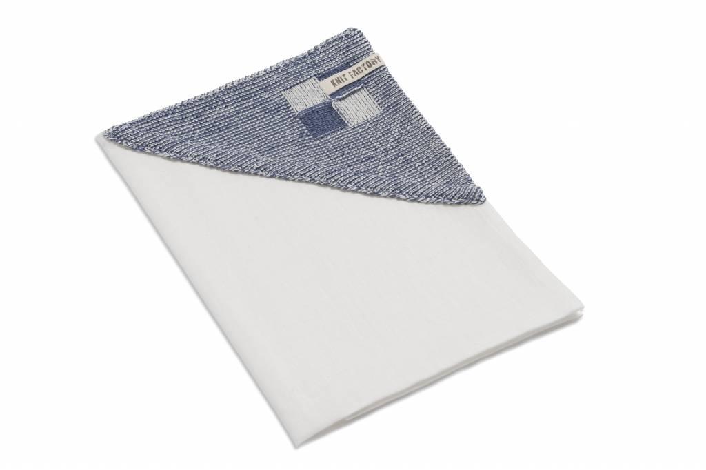 Knit Factory linnen theedoek 'grote blok' ercu/jeans 65x65cm