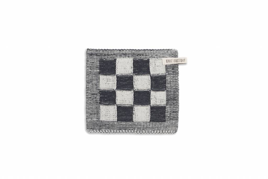 Knit Factory Gebreide pannenlap 'grote blok' ercu/antraciet 23x23cm