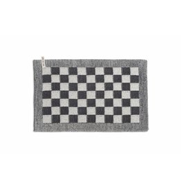 Knit Factory Gebreide placemat 'grote blok' ecru/antra