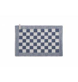 Knit Factory Gebreide placemat 'grote blok' ecru/jeans