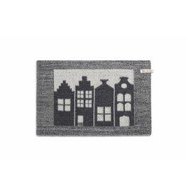 Knit Factory Gebreide placemat 'huis' ecru/antra