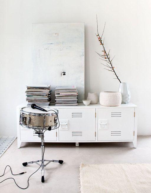 HK Living TV meubel hout 57x160x40cm, wit - label123