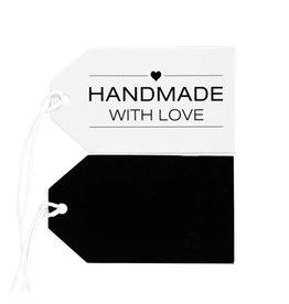 Label karton Handmade With Love, wit/zwart