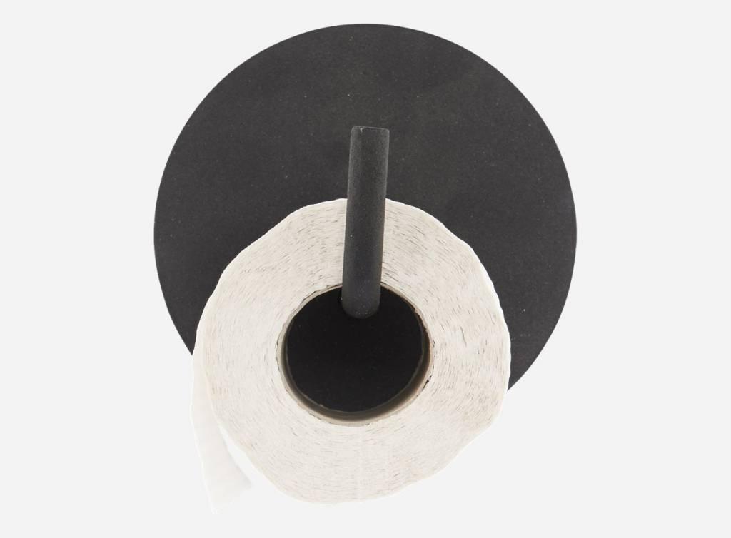 House Doctor Toiletrolhouder 'text', 12cm zwart metaal