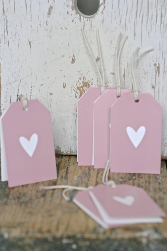 Wenskaart - Hartje roze -