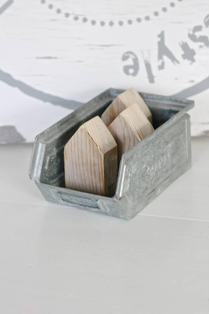 Zinken magazijnbak maat S, 16,5x10,5x7,5cm