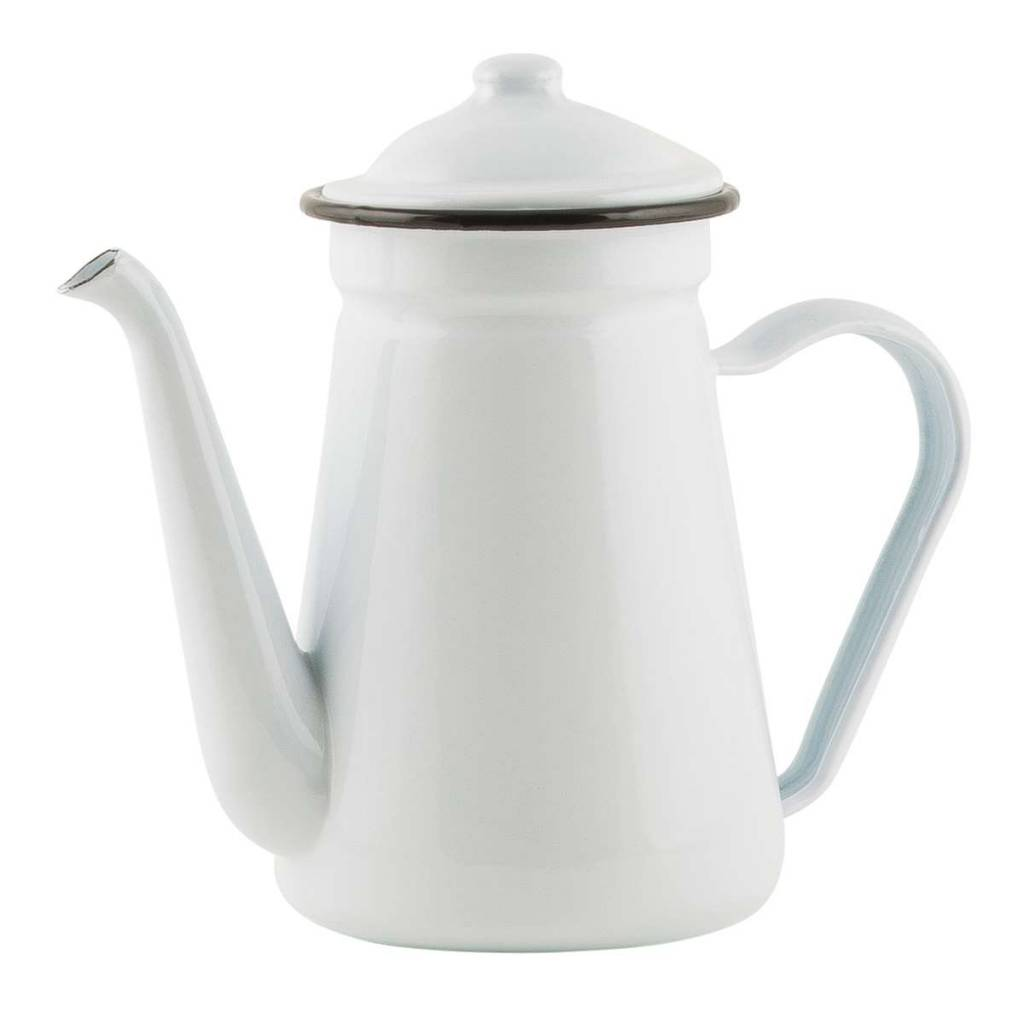 IB Laursen Emaille coffeepot Ø11xh18,5cm, wit