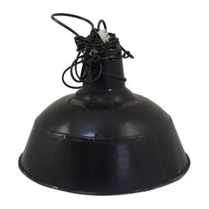 Vintage industriële atelier lamp emaille zwart