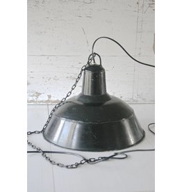 Vintage industriële hanglamp emaille zwart