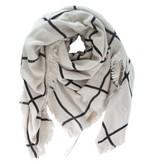 Zusss grote vierkante sjaal 140x140cm, zand/zwart