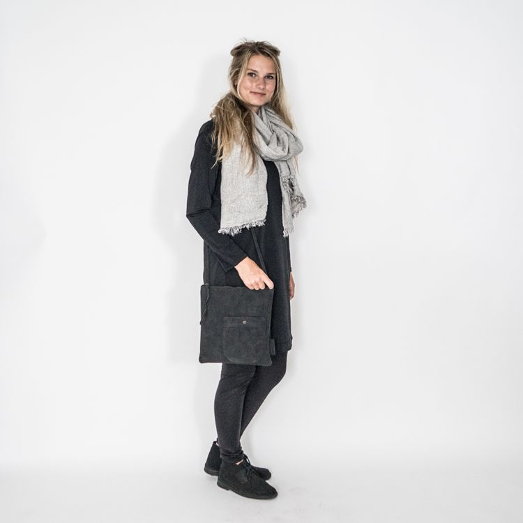 Zusss Gewafelde sjaal 60x200cm, grijs