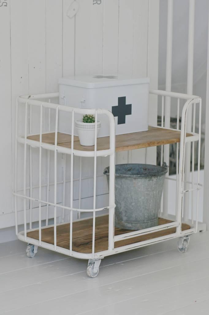 metalen trolley op wielen 62x60x42cm, wit