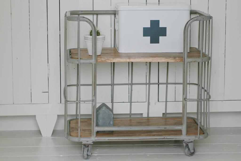 metalen trolley op wielen 62x60x42cm, grijs
