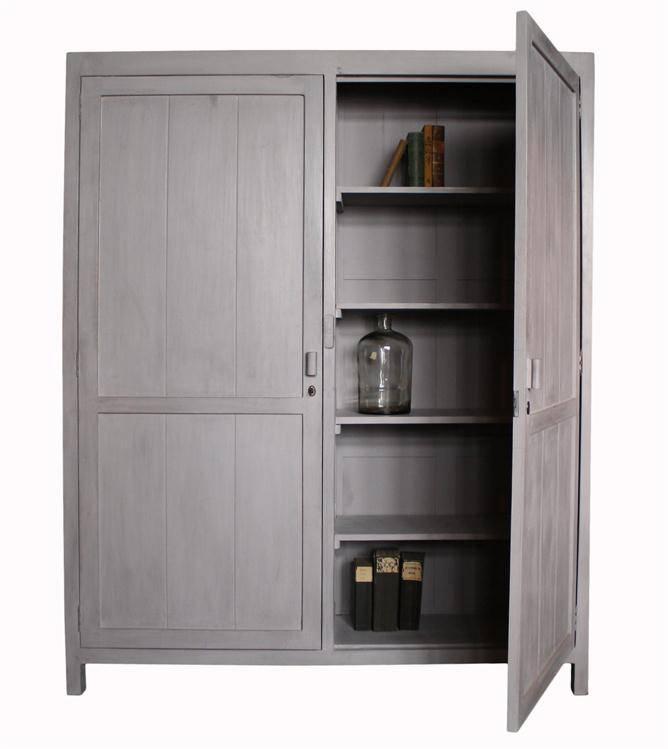 HK Living Mango houten cupboard XL met dubbele deuren 201x162x40cm, wit