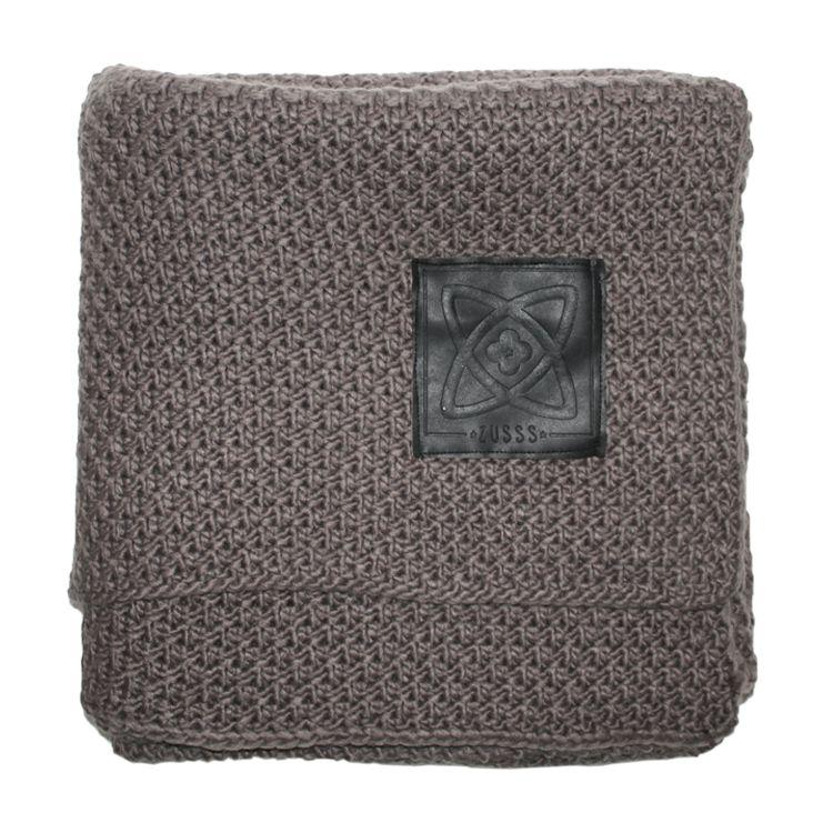Zusss Gebreid woonplaid 150x150cm, grijs