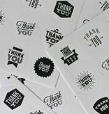 Ronde sticker thank you, zwart/wit, 9st