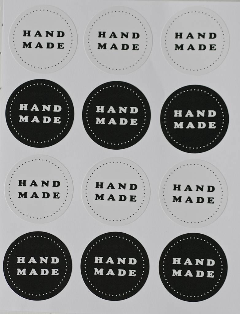 Ronde sticker hand made, zwart/wit, 12st