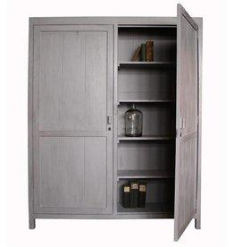 HK Living Mango houten kabinetkast XL met dubbele deuren grijs
