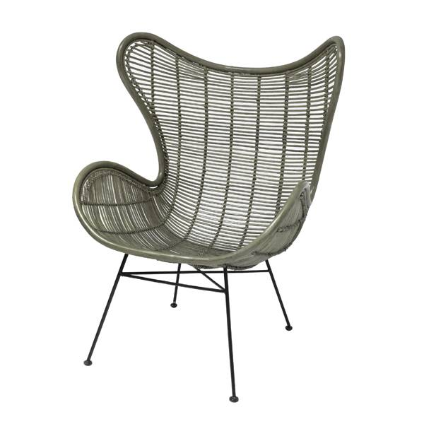 HK Living Rotan stoel 100x63x63cm, olijf groen