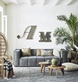 HK Living voetenbank canvas 80x69x43cm, grijs