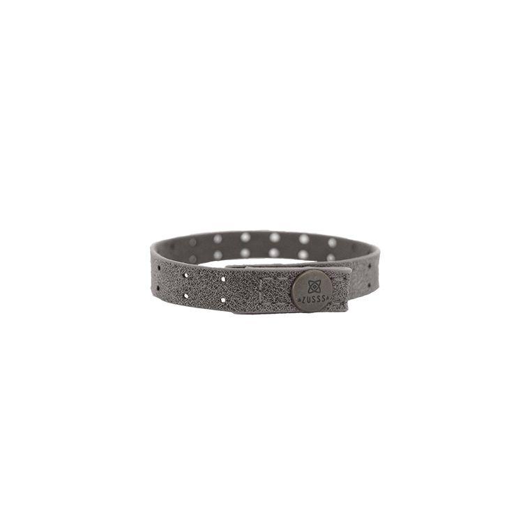 Zusss Armband leer met gaatjes 1x22cm, antracietgrijs
