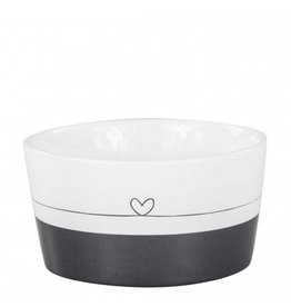 Bastion Collections Bowl Black/White with line heart in Black