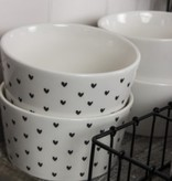 Bastion Collections Bowl White little heart Black