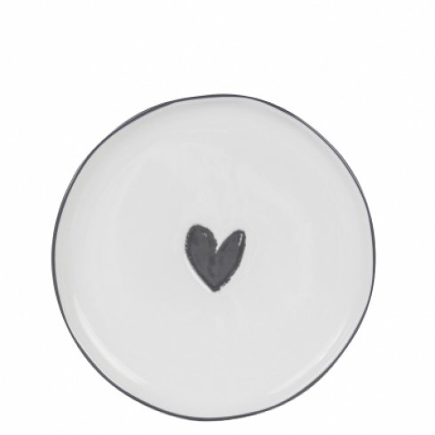 Bastion Collections Dessert Plate White/Heart in Black
