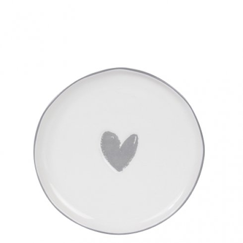 Bastion Collections Cake Plate White/Heart in Grey