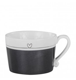 Bastion Collections Mug Black/White with Line Heart in Black