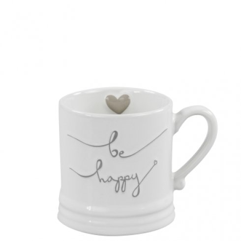 Bastion Collections Mug Small White/be happy in Grey