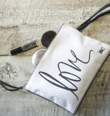 "Bastion Collections Make up bag ""Love"" White/Black"