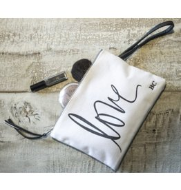 "Bastion Collections Make up bag ""Filled with love"" White/Black"